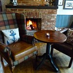 Roaring winter fire at The Mayflower Hotel's pub, Lymington