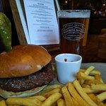 Delicious burger with just one of the many real ales