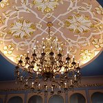 Beautiful vaulted ceiling with chandelier