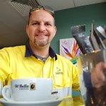 Showing off the Di Bella Coffee!
