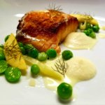 local salmon with fava beans from our garden