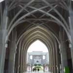 Metal arches that gives it the nickname 'The Steel Mosque'