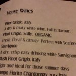 menu of a few white wines