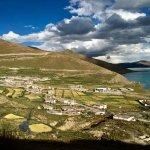 Tibetan dwellings beside Lake Yamdrok.