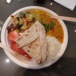 Thali Platter with Curry, Dal/Sambar, Rice, Roti and Salad