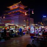 foodstalls with Drum Tower
