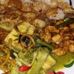 Green Vegetable curry with Pad Chicken and Noodles