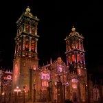 Puebla Cathedral at Night.