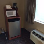 Fridge, Microwave, Coffee maker and through the wall HVAC unit