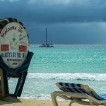 Marley's sign and that azure blue Caribbean Sea.