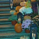 The stairs to the front entrance lovely welcome to Fall!