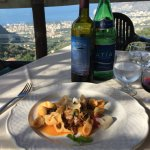 Handmade Orchette with Aubergine. Their Red wine and a view to die for.