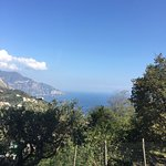 The view of the Amalfi Coast. Their garden in the foreground.