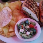 Prime steak panini, potato/taro chips, greek salad $15.95