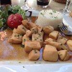 Calamars en sauce et riz blanc