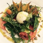 BURRATA, ZUCCHINI, SUGAR SNAP, HEIRLOOM GRAPE TOMATO, WILD ROCKET, BASIL, PEPITAS, PINE NUTS AND