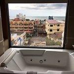 The massive bath with ocean views