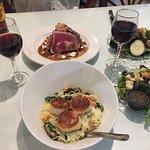 Seared Sea Scallops, Tybee Tuna, Side Salad and Merlot