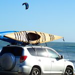 kayaks and kite surfers at Waddell Beach