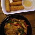 Drunken chicken noodles, veggie Spring Rolls