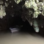 No photos allowed inside the cave. This is the exit/employee pulling the boat back in.