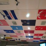 Actual tops stretched over ceiling tiles ...Clever!!