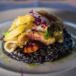 Risotto nero ~ pan fried & tempura squid, roasted cherry tomatoes & chargrilled spring onion