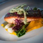 Pan fried sea trout ~ with carrot & cardamom puree, wilted spring onions, samphire tempura & sor