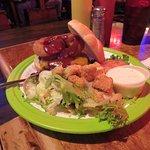 Great burger and salad