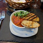 Excellent king prawns cooked in a spicy arrabiata sauce with olive bread bruschetta