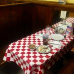 checkered tablecloths in booths