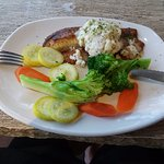 tilapia with lump crab and steamed veggies