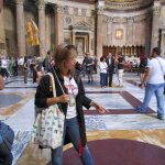 Tour guide Anna explains the original marble floors at the Pantheon in Rome