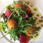 Yorkshire goat's cheese bon bons, salt baked beetroot, toasted pine nuts, leaves & pesto