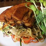 sticky belly pork, soft noodles, soy sauce