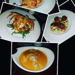 Diver scallops on right and lobster bisque at the bottom. Cappellini on top and Snapper to the l