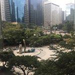 Pocket park in front of hotel