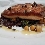 Roasted salmon with chickpeas, cumin, Swiss card and lemon-honey vinaigrette