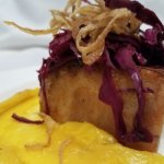 Roasted pork belly, pickled cabbage, fried shallots and butternut puree