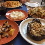 Grilled mushrooms, stuffed eggplant, ztatziki, zucchini fire and calamari.