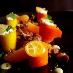 Cannelloni de carotte et faisselle de chèvre au kumquat confit