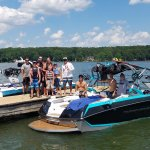 Customers after a wonderful time on our Wake Boat for rent