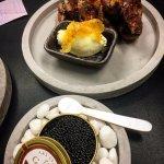Oscietra Caviar, soured cream, crisp potato skins... Treat day!