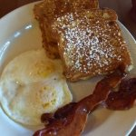 French toast, eggs and bacon($9.95)