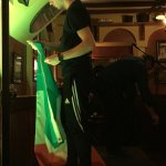 David Geaney setting up Irish flag for his performance