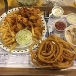 Very tasty fish and chips, creamy chowder and amazing onion rings!