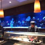 The sushi bar and a very cool aquarium