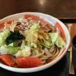 Pork udon salad,  interior restaurant area, reception and front