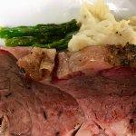 Prime rib, garlic mashed potatoes, and asparagus tips
