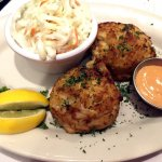 Crab Cake Dinner (MD style crab cake) with remoulade sauce. Substituted mac and cheese for coles